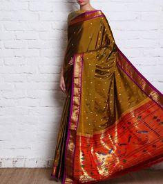 Mehendi Green Pure Silk Paithani Saree-Royal Weaves of Maharashtra