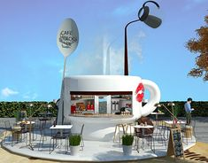 Coffee Kiosk Concept and Design in UAE Cafe Shop Design, Kiosk Design, Cafe Exterior, Exterior Design, Mobile Coffee Shop, Exhibition Stall Design, Coffee Stands, Cafe Bistro, Coffee To Go