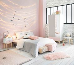 Pink Girl's Bedroom with Pink and White Wardrobe BLUSH | Maisons du Monde