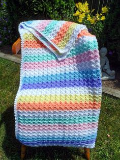 Crochet BABY BLANKET - Child Size Afghan - 35 x 30 inch - Rainbow of Pastel Colors on Etsy, $63.07 AUD