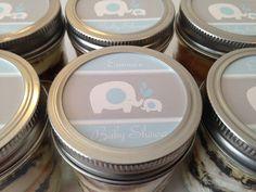 Cupcakes In A Jar-Mason Jars-Baby Shower Favors-Baby Boy-Elephant Theme-Blue-Gray