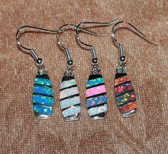 1 PAIR fire opal earrings gemstone silver jewelry modern cocktail drop/dangle G2 #DropDangle