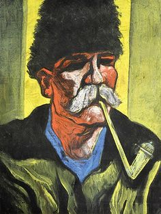 Marvelous Scheiber Hug Man smoking a pipe Gouache pastel on cardboard