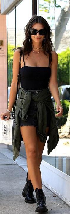Emily Ratajkowski in Shirt – Are You Am I  Sunglasses – Raen  Shoes – Aska  Purse – Pop & Suki  Jacket – Saint Laurent