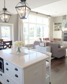 White Farmhouse Kitchen Island With Lantern Pendants Overlooking A  Craftsman Lodge Great Room.Walls Are Sherwin Williams Intellectual Gray  With Alabaster ...
