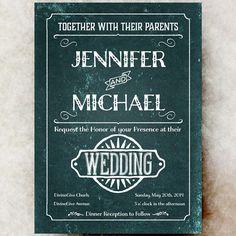 Calligraphy Wedding Invitation - Retro Wedding Invitation, Vintage wedding Invitation, 1900s Invitation Digital or Printed