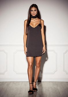 Black Satin Slip Dress with Choker Sash - Dresses