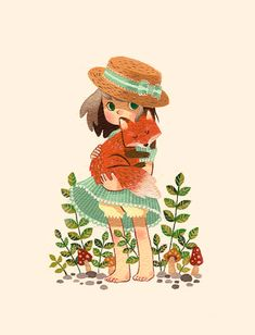 "Tiny Painting of a Tiny Girl with a Tiny Fox. Can't decide if I like gouache over watercolor??? (I was sketching this and was like ""damn, I drew another random girl holding a cute animal….I'm so boring"" and was getting really sad about my own unoriginality, but then I gave the girl a boater hat and suddenly everything was new and exciting. a whole new level of cute.) (also a gratuitous photo of my table. arranged to look artistic and cute. in real life, my work desk is a black hole)"