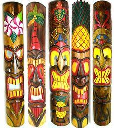 Set of 5 40 Polynesian Hawaiian Tiki Bar Style Wall Masks Island Art >>> For more information, visit image link. Hawaiian Tiki, Hawaiian Theme, Tiki Hawaii, Tiki Bar Decor, Tiki Bar Signs, Tiki Statues, Tiki Mask, Tiki Hut, Tiki Tiki