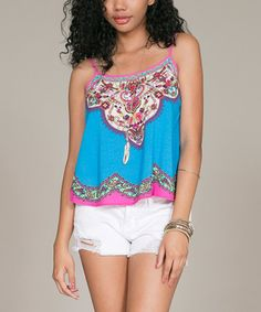Look what I found on #zulily! Turquoise & Pink Arabesque Tank by Flying Tomato #zulilyfinds