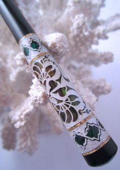 """The """"Princess Eve"""" Hair Stick Featuring Gabon Ebony Inlaid with Green and Yellow Paua Shells, Gold Leaf and Mother of Pearl by TimberstoneTurnings"""