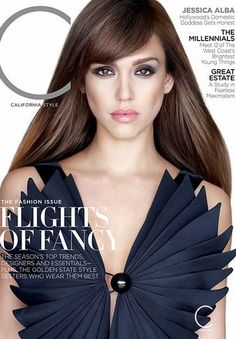 Who made  Jessica Alba's pleated blue dress that she wore on the cover of C magazine?