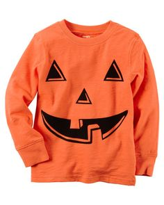 Soft cotton jersey featuring a flocked pumpkin face perfect for Halloween. No tricks here, this tee is a treat!