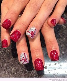 21 Fabulous and Easy Christmas Nail Designs: #2. Pretty Christmas Gift Nail Design