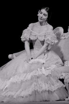 Maria Callas as Violetta in the Franco Zefirelli's production of La traviata. The Royal Opera 1958