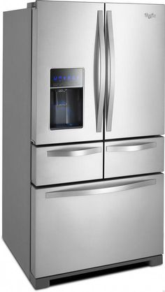 Whirlpool WRV986FDEM 25.8 cu. ft. French Door Refrigerator with 5 MicroEdge Glass Shelves, 4 Door Bins, Gallon Door Storage, Dual Icemakers, Measured Fill and External Temperature-Controlled Drawer #kitchendoors