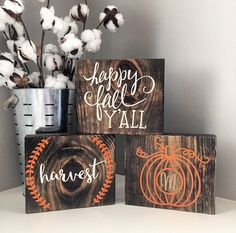 Fall wood block set Fall sign Thanksgiving by CoastalCraftyMama