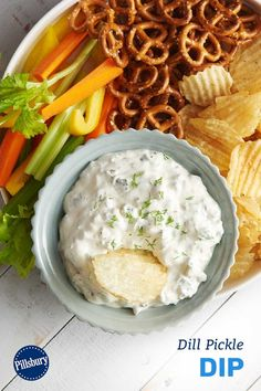 Dill pickle fans will love this creamy, tangy dip, which is great served with pretzels, potato chips or vegetables! Store covered in refrigerator up to 3 days. Nacho Recipes, Recipes Appetizers And Snacks, Appetizer Salads, Savory Snacks, Dip Recipes, Appetizers For Party, Sauce Recipes, Cooking Recipes, My Favorite Food