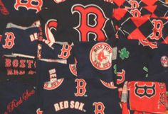 Red Sox material 22 pc cotton fabric scrap lot various patterns