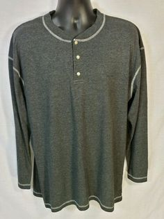 Izod Gray Sleep Shirt Cotton Blend Sz L #IZOD #Nightshirt