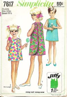 1960's Simplicity 7617 Girls Jiffy Wrap-Around Dress Sewing Pattern, Size 10 1/2c by DawnsDesignBoutique on Etsy