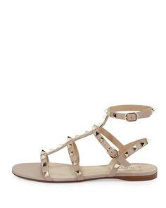 aee005ceec1 Valentino - Rockstud Leather Flat Sandal - shoes