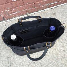 Wine Carrier in Black Wax & Black Leather - Bottles Secured in Internal Sleeves