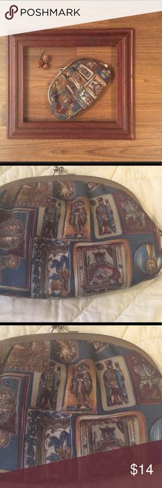 """Made in Italy clutch/cosmetic bag. Approx 5"""" X 8"""".  Deep teal, wine, gold. Bags"""