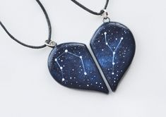 Half heart necklace Valentines day gift Two hearts necklace Boyfriend gift Girlfriend present Cosmic pendants Galaxy jewelry Personalized