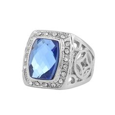 Women Men Sapphire White Gold Plated Filled Ring Crystal Rhinestone Hollow Carving Finger Rings 2015 Fashion