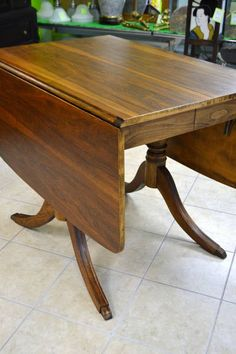"""Walnut Drop Leaf Dining Table - Great for a small space - Fabulous style! - (No leaf, but it opens easily if you wanted to have one made) -  Leaves Down: 26"""" x 38"""" x 30"""" H - Leaves Up: 59"""" x 38"""" x 30"""" H"""