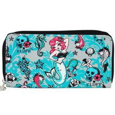 Molly Mermaid Seahorse Pinup Pirate Skull Walket Retro Tattoo FLUFF