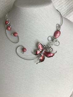 Your place to buy and sell all things handmade Pink Jewelry, Wedding Jewelry, Jewelery, Butterfly Jewelry, Butterfly Necklace, Bridesmaid Jewelry, Bridesmaids, Iron Wire, Black Necklace