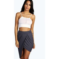f7043e24942 Boohoo Doris Draped Asymmetric Jersey Skirt (31 ILS) ❤ liked on Polyvore  featuring skirts