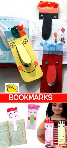 """watch video: how to make: These BOOKMARKS have been made by children from The Group for Kid's Theater """"Camel"""". The Group for Kid's Theater """"Camel"""" was established by a group of professionals who make Heart Bookmark, Bookmark Craft, Art For Kids, Crafts For Kids, Bookmarks Kids, Printable Bookmarks, Best Kids Watches, Paper Crafts, Diy Crafts"""