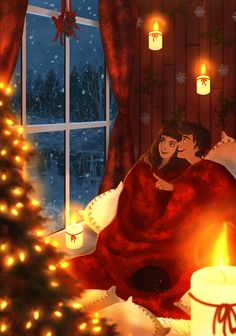 An ultimate roundup of 28 of my absolute favorite Xmas Tree animated gif images that I have been collection over the past couple years. Comic Anime, Anime Comics, Couple Illustration, Illustration Art, Christmas Tree Gif, Christmas Night, Merry Christmas, Poster Print, Animated Love Images