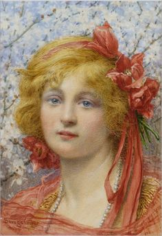 Head of a girl, with tulips in her hair (1914). William Savage Cooper (British, active 1880-1926)