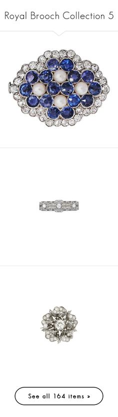 """""""Royal Brooch Collection 5"""" by nmccullough ❤ liked on Polyvore featuring jewelry, brooches, blue, pearl broach, sapphire jewelry, blue diamond jewelry, diamond brooch, diamond jewellery, ruby jewellery and 18k jewelry"""