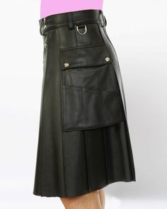Deluxe Leather Kilt with Twin Cargo Pockets