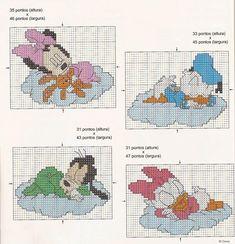 baby minnie, donald, goofy and daisy cross stitch