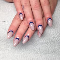 Instagram media by nailarch - #acrylicoverlay #reversefrench #navy #nude