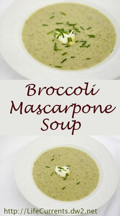 Broccoli Mascarpone Soup is really easy and very tasty, and it makes a great warm comforting light meal.