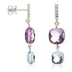 White Gold Drop Earrings with Amethyst & Topaz...spectacular!...