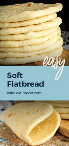 This homemade soft flatbread recipe is super easy to make and is perfect for sandwiches gyros or even mini pizzas! This homemade soft flatbread recipe is super easy to make and is perfect for sandwiches gyros or even mini pizzas! Bread Machine Recipes, Bread And Pastries, Mexican Food Recipes, Soft Food Recipes, Recipes Dinner, Dessert Recipes, Mini Pizzas, Love Food, Baking Recipes