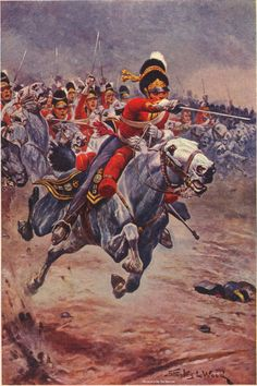 The Scots Greys during their famous charge on the French infantry attack. In reality, the Greys could barely get into a trot, as the fields were extremely muddy. Waterloo 1815, Battle Of Waterloo, Military Art, Military History, British History, Art History, Bataille De Waterloo, Military Drawings, Crimean War