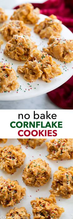Cornflake Cookies - with kettle chips! These sweet and salty no bake cookies are a treat you'll want to make a new tradition every holiday season, always a hit! Easy Baking Recipes, Cookie Recipes, Dessert Recipes, Party Recipes, No Bake Treats, No Bake Cookies, Bar Cookies, Delicious Desserts, Yummy Food