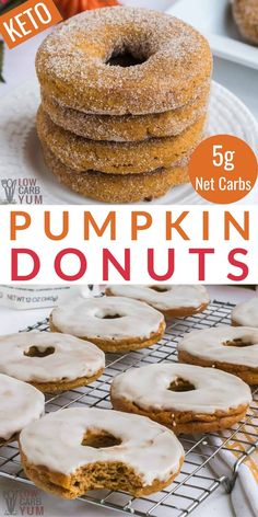 Sugar Free Donuts, Keto Donuts, Keto Cookies, Doughnuts, Pumpkin Donuts Recipe, Pumpkin Recipes, Low Carb Donut, Low Carb Desserts, Diabetic Desserts