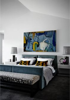 Make an impact in the master bedroom with a statement art.  #art, #bedroom, #contemporary | Art in Master Bedroom