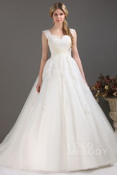 Dramatic A-Line Straps Chapel Train Tulle Wedding Dress CWLT13090