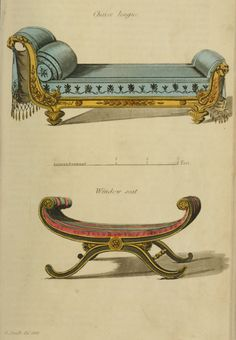 Not a spacious as I picture in my head when a couple uses one of these for a romantic encounter. 1809 - Chaise Lounge and Window Seat from Ackermann's Repository EKDuncan - My Fanciful Muse: Regency Furniture 1809 Ackermann's Repository Series 1 Furniture Styles, Unique Furniture, Vintage Furniture, Furniture Design, Furniture Removal, Painted Furniture, Regency Furniture, Georgian Furniture, Regency House